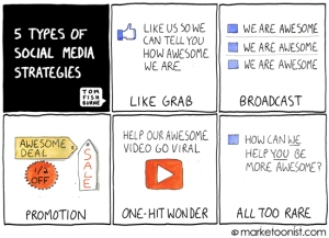 social media strategies cartoon
